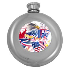United States Of America Usa  Images Independence Day Round Hip Flask (5 Oz) by BangZart