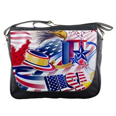 United States Of America Usa  Images Independence Day Messenger Bags by BangZart