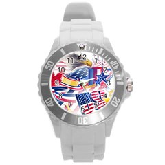 United States Of America Usa  Images Independence Day Round Plastic Sport Watch (l)