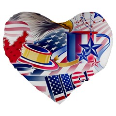 United States Of America Usa  Images Independence Day Large 19  Premium Heart Shape Cushions by BangZart