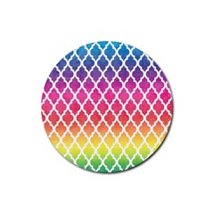 Colorful Rainbow Moroccan Pattern Rubber Round Coaster (4 Pack)