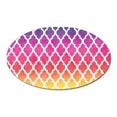 Colorful Rainbow Moroccan Pattern Oval Magnet