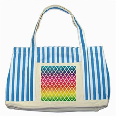 Colorful Rainbow Moroccan Pattern Striped Blue Tote Bag