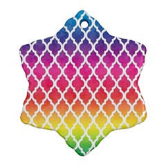 Colorful Rainbow Moroccan Pattern Snowflake Ornament (two Sides)