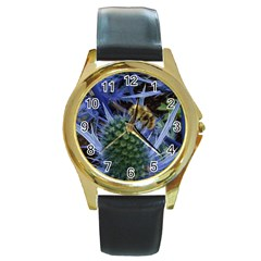 Chihuly Garden Bumble Round Gold Metal Watch by BangZart