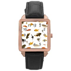 Goldfish Rose Gold Leather Watch  by BangZart