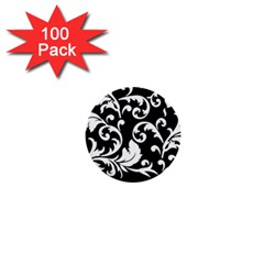 Vector Classicaltr Aditional Black And White Floral Patterns 1  Mini Buttons (100 Pack)