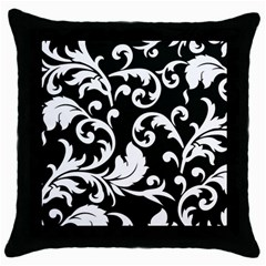 Vector Classicaltr Aditional Black And White Floral Patterns Throw Pillow Case (black)