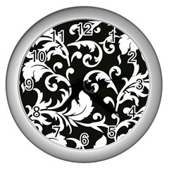 Vector Classicaltr Aditional Black And White Floral Patterns Wall Clocks (silver)