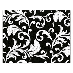 Vector Classicaltr Aditional Black And White Floral Patterns Rectangular Jigsaw Puzzl