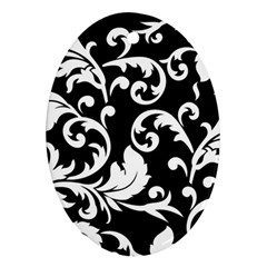 Vector Classicaltr Aditional Black And White Floral Patterns Oval Ornament (two Sides)