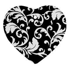 Vector Classicaltr Aditional Black And White Floral Patterns Heart Ornament (two Sides)