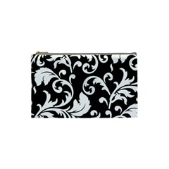 Vector Classicaltr Aditional Black And White Floral Patterns Cosmetic Bag (small)