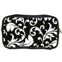 Vector Classicaltr Aditional Black And White Floral Patterns Toiletries Bags 2 Side