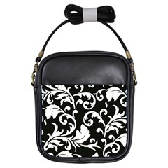 Vector Classicaltr Aditional Black And White Floral Patterns Girls Sling Bags