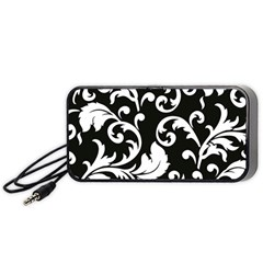 Vector Classicaltr Aditional Black And White Floral Patterns Portable Speaker (black)