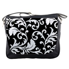 Vector Classicaltr Aditional Black And White Floral Patterns Messenger Bags
