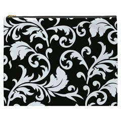 Vector Classicaltr Aditional Black And White Floral Patterns Cosmetic Bag (xxxl)