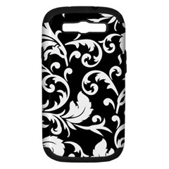 Vector Classicaltr Aditional Black And White Floral Patterns Samsung Galaxy S Iii Hardshell Case (pc+silicone)