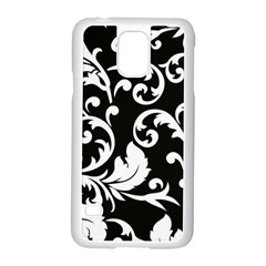 Vector Classicaltr Aditional Black And White Floral Patterns Samsung Galaxy S5 Case (white)