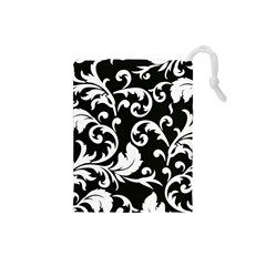 Vector Classicaltr Aditional Black And White Floral Patterns Drawstring Pouches (small)  by BangZart