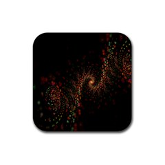 Multicolor Fractals Digital Art Design Rubber Square Coaster (4 Pack)