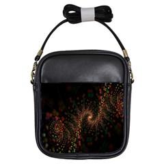 Multicolor Fractals Digital Art Design Girls Sling Bags