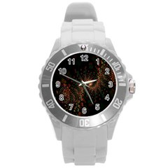 Multicolor Fractals Digital Art Design Round Plastic Sport Watch (l)