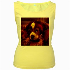 Cute 3d Dog Women s Yellow Tank Top