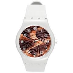 Snake Python Skin Pattern Round Plastic Sport Watch (m)
