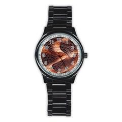 Snake Python Skin Pattern Stainless Steel Round Watch