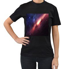 Digital Space Universe Women s T Shirt (black) (two Sided)