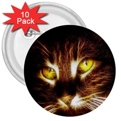 Cat Face 3  Buttons (10 Pack)