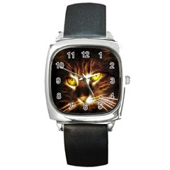Cat Face Square Metal Watch