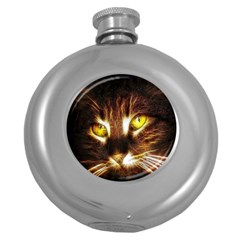 Cat Face Round Hip Flask (5 Oz)