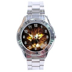 Cat Face Stainless Steel Analogue Watch by BangZart