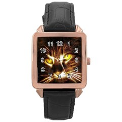 Cat Face Rose Gold Leather Watch