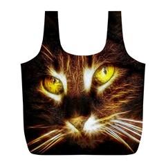 Cat Face Full Print Recycle Bags (l)