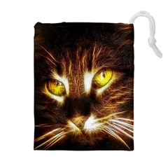 Cat Face Drawstring Pouches (extra Large)