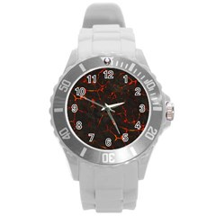 Volcanic Textures Round Plastic Sport Watch (l) by BangZart