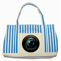 Camera Lens Prime Photography Striped Blue Tote Bag by BangZart
