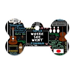 Book Quote Collage Dog Tag Bone (one Side)