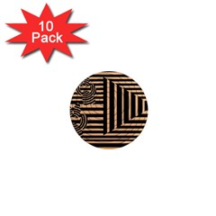 Wooden Pause Play Paws Abstract Oparton Line Roulette Spin 1  Mini Magnet (10 Pack)  by BangZart