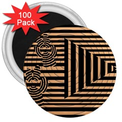 Wooden Pause Play Paws Abstract Oparton Line Roulette Spin 3  Magnets (100 Pack) by BangZart