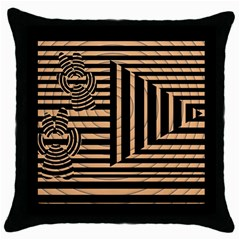 Wooden Pause Play Paws Abstract Oparton Line Roulette Spin Throw Pillow Case (black) by BangZart