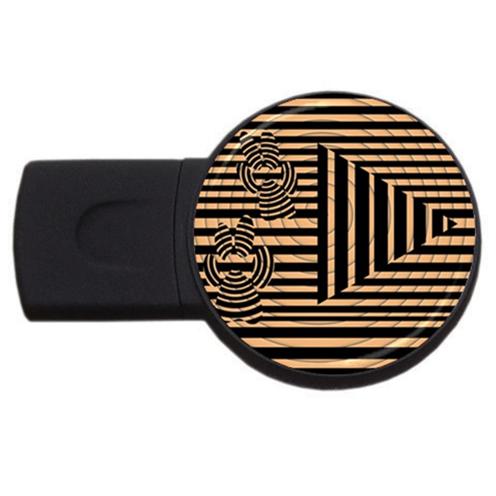 Wooden Pause Play Paws Abstract Oparton Line Roulette Spin USB Flash Drive Round (2 GB)