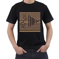 Wooden Pause Play Paws Abstract Oparton Line Roulette Spin Men s T Shirt (black) (two Sided)