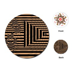 Wooden Pause Play Paws Abstract Oparton Line Roulette Spin Playing Cards (round)  by BangZart