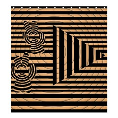 Wooden Pause Play Paws Abstract Oparton Line Roulette Spin Shower Curtain 66  X 72  (large)
