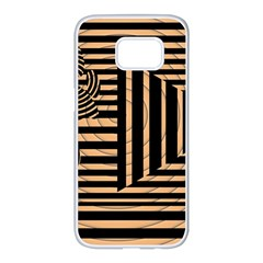 Wooden Pause Play Paws Abstract Oparton Line Roulette Spin Samsung Galaxy S7 Edge White Seamless Case